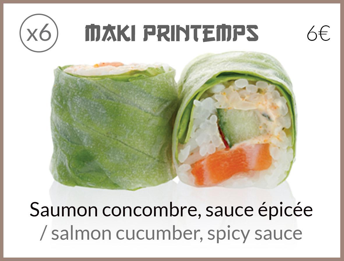 maki printemps saumon concombre