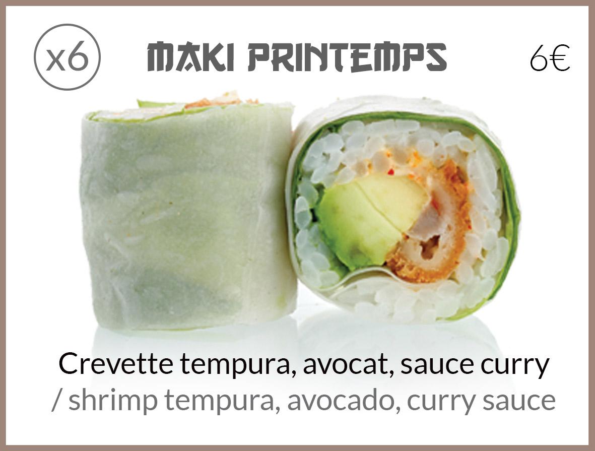 maki printemps avocat sauce curry tempura