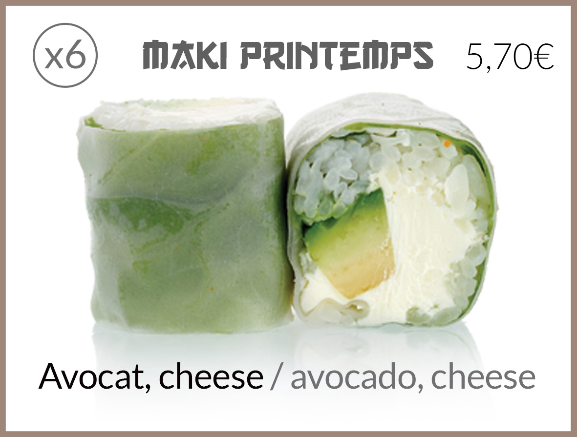 maki printemps avocat fromage