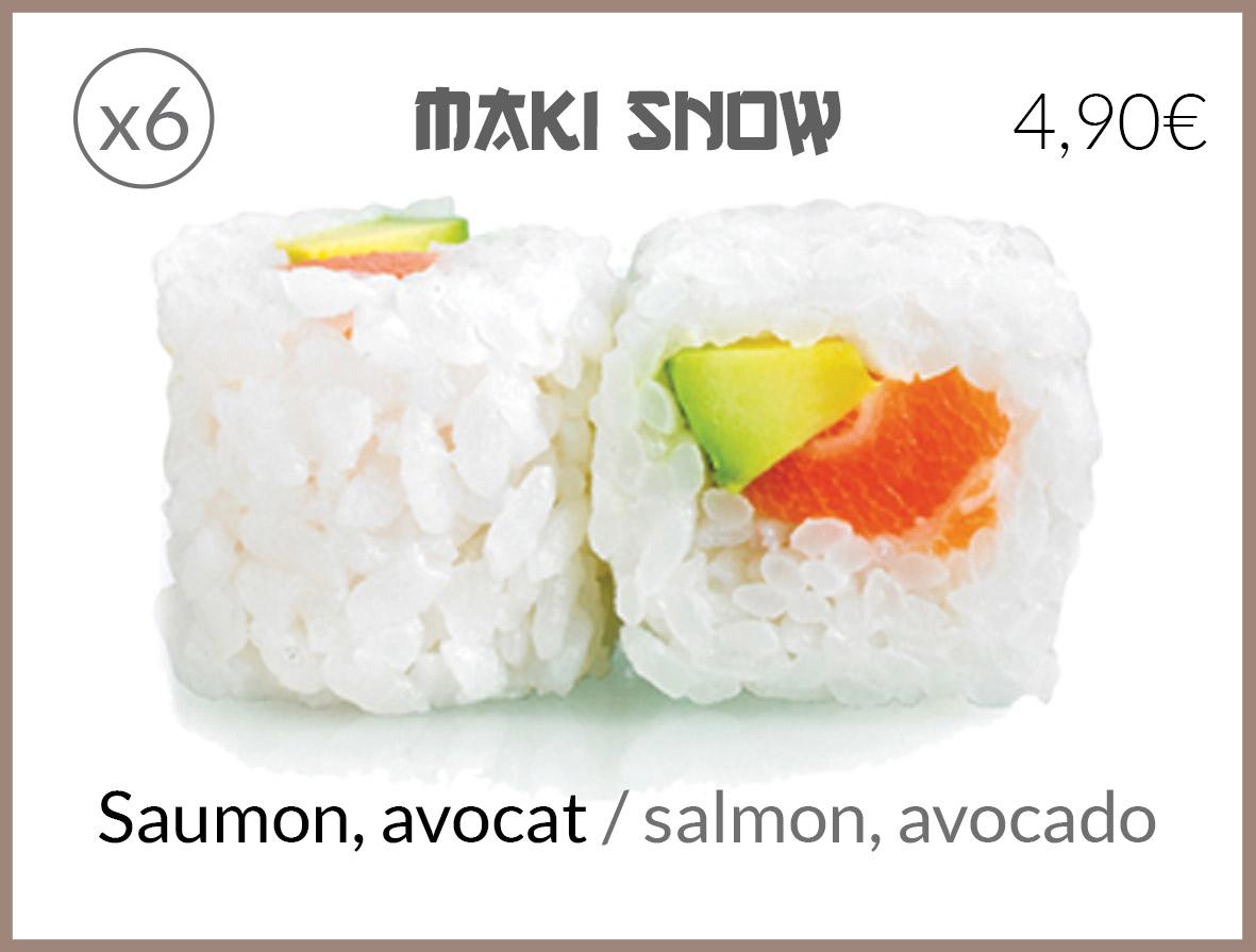 snow saumon avocat